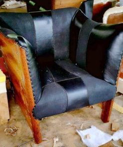 Palmwood leather one seater sofa