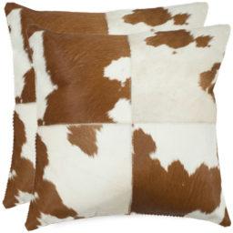 Mosaic cowhide pillow