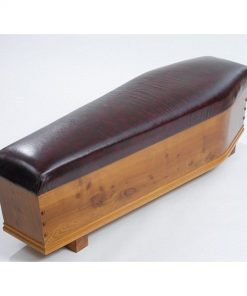 Wooden cow leather bench