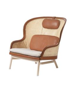 Wooden rattan high back arm chair