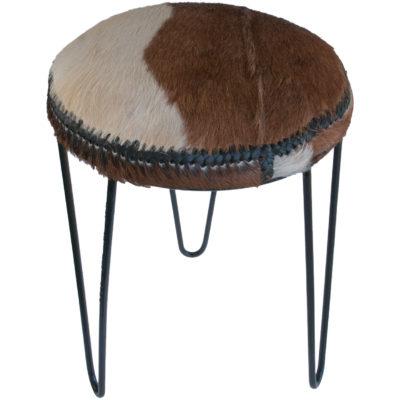 Goat hide iron stool