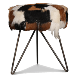 Goat hide iron stool