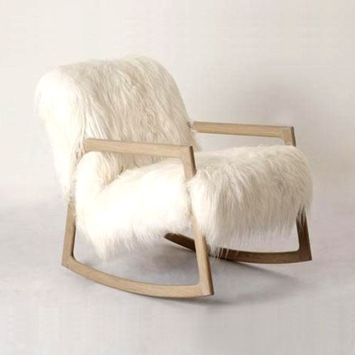 Synthetic fur rocking chair