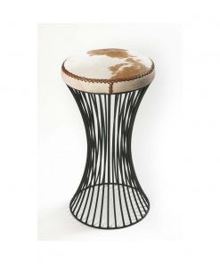 Iron cowhide stool