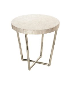 Capiz stainless steel side table