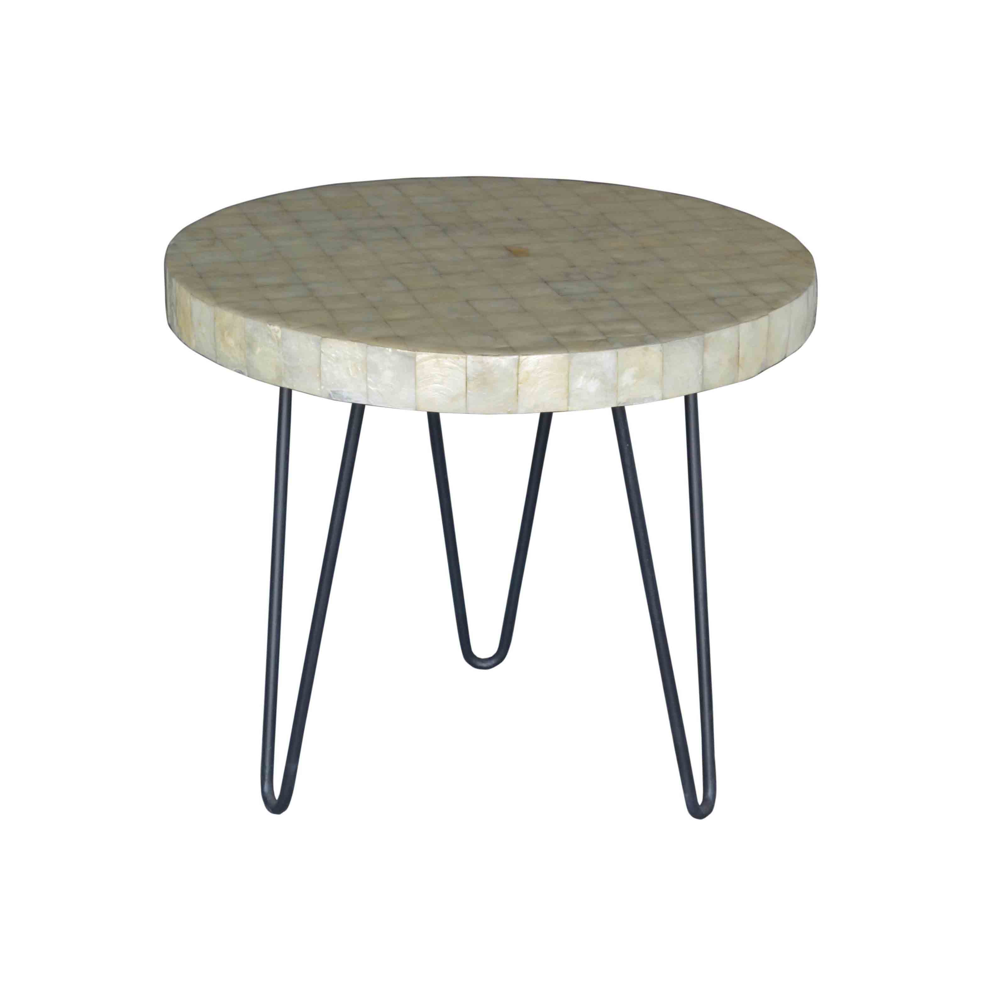 Round White Capiz Coffee Table: Buchan Round Side Table
