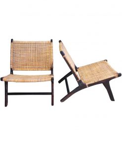 Wooden rattan lazy chair